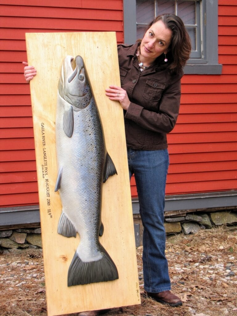 Atlantic salmon carving